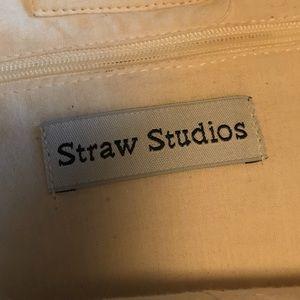 Straw Studios Bags - Straw Studios Canvas Vegan Leather Pom Pom Bag B33